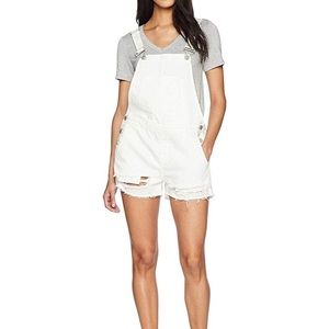 BlankNYC White Overalls Distressed Shorts